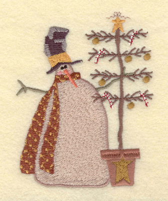 Embroidery Design: Snowman with Christmas Tree3.33w X 4.21h
