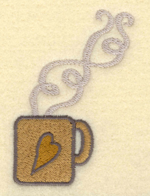 Embroidery Design: Mug Small with Heart2.43w X 3.51h