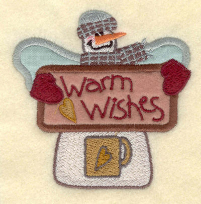 Embroidery Design: Snowman Appliques with Wings & Mug3.53w X 3.55h