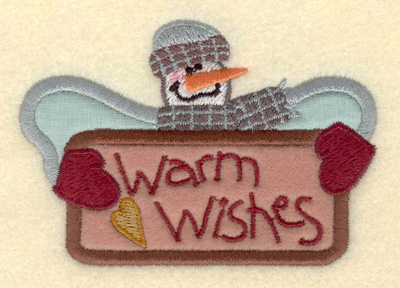 Embroidery Design: Snowman with Warm Wishes3.91w X 2.69h