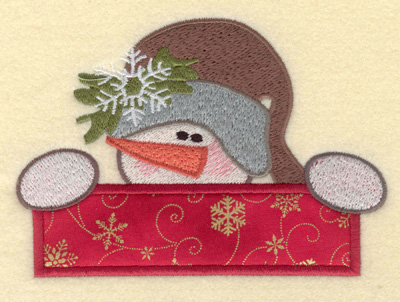 Embroidery Design: Large Snowman Head with Applique Bar5.60w X 3.95h