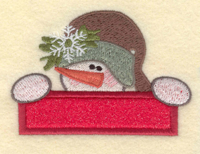 Embroidery Design: Small Snowman Head with Applique Bar3.75w X 2.64h