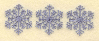 Embroidery Design: Three Snowflakes Center Filled3.80w X 1.28h