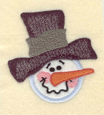 Embroidery Design: Snowman Head w/ Hat and Applique2.96w X 3.20h