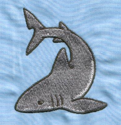 "Embroidery Design: Grey Shark (small)2.48"" x 2.95"""