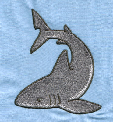 """Embroidery Design: Grey Shark (large)3.34"""" x 3.99"""""""