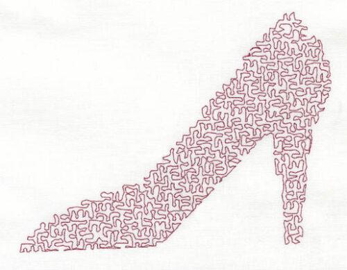 Embroidery Design: Stipple Shoe High5.39w X 3.97h