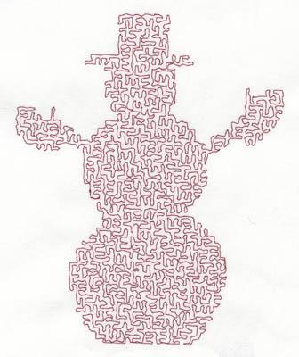 Embroidery Design: Stipple Snowman High4.70w X 5.84h