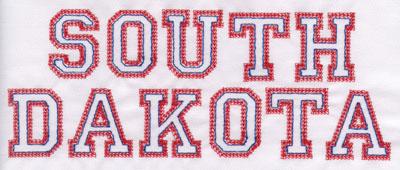 """Embroidery Design: South Dakota Name3.14"""" x 7.96"""""""