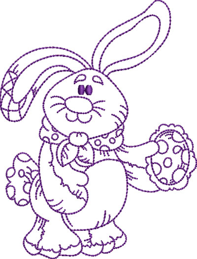 Embroidery Design: Easter Bunny 2 5.03w X 6.61h