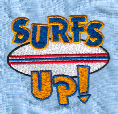 "Embroidery Design: SURFS UP (small)2.99"" x 2.64"""