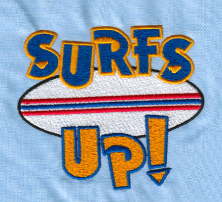 "Embroidery Design: SURFS UP (large)4.03"" x 3.56"""