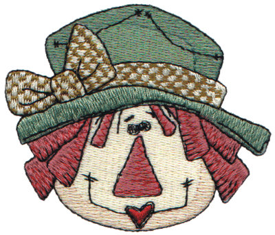 """Embroidery Design: Annie In a Green Hat3.28"""" x 2.76"""""""