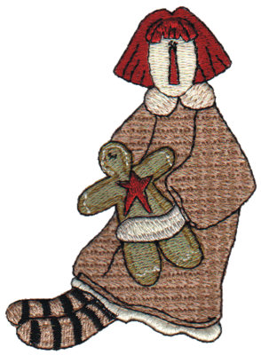 """Embroidery Design: Annie with her Doll """"Ginger""""2.70"""" x 3.59"""""""