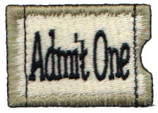 """Embroidery Design: Annie's Ticket Stub2.01"""" x 1.39"""""""