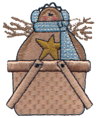 """Embroidery Design: Gingerbread Snowman in Basket2.45"""" x 2.92"""""""