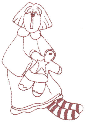 "Embroidery Design: Annie & ""Ginger"" - Outline2.54"" x 3.42"""