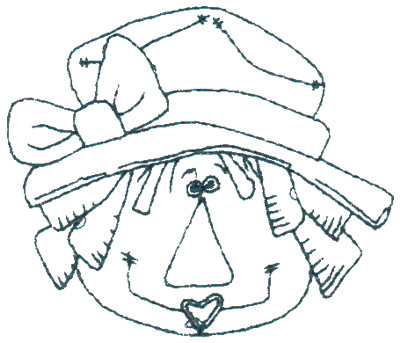 "Embroidery Design: Annie In Hat - Outline2.99"" x 2.52"""