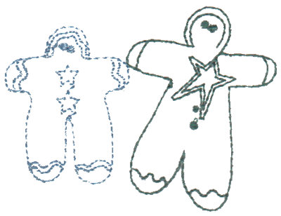 "Embroidery Design: Annie's Dolls ""Fred"" & ""Ginger"" - Outline3.03"" x 2.28"""