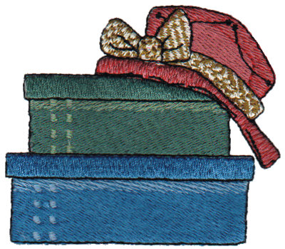 """Embroidery Design: Red Hat with Boxes2.99"""" x 2.60"""""""