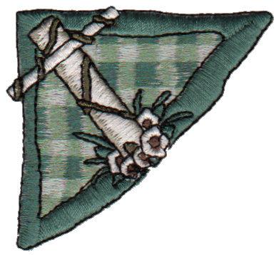 "Embroidery Design: Green Plaid Cross Corner2.51"" x 2.26"""