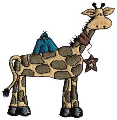 """Embroidery Design: Giraffe & Blue Bird3.00"""" x 3.19"""""""