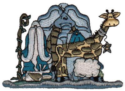 "Embroidery Design: Noah & Animals3.97"" x 2.86"""
