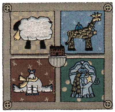 """Embroidery Design: Animal Quilt Block4.02"""" x 3.85"""""""