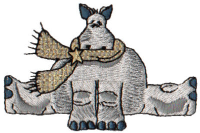 "Embroidery Design: Hippo3.00"" x 1.95"""