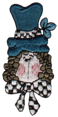 """Embroidery Design: Girl with Green Hat1.35"""" x 2.98"""""""