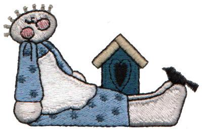 "Embroidery Design: Birdhouse & Girl2.99"" x 1.86"""