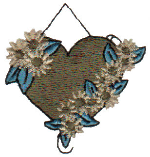 "Embroidery Design: Hanging Heart1.94"" x 2.05"""