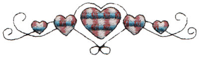 "Embroidery Design: Plaid Heart Border3.98"" x 1.08"""