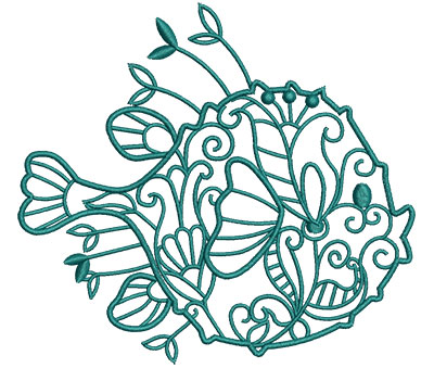 Embroidery Design: Sea Flora Fish 5.03w X 4.56h