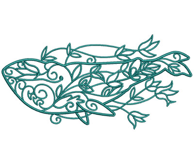 Embroidery Design: Sea Flora Whale 6.05w X 3.00h