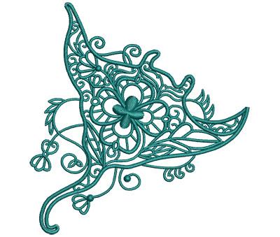 Embroidery Design: Sea Flora Stingray 4.30w X 4.55h
