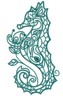 Embroidery Design: Sea Flora Seahorse 3.40w X 6.01h
