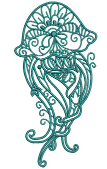 Embroidery Design: Sea Flora Jellyfish 3.14w X 6.29h