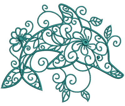 Embroidery Design: Sea Flora Dolphin 5.37w X 4.31h
