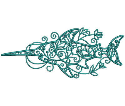 Embroidery Design: Sea Flora Swordfish 6.01w X 2.49h