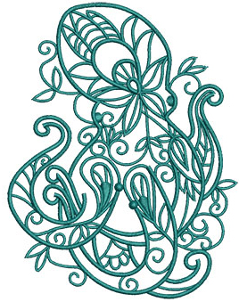 Embroidery Design: Sea Flora Octopus 4.12w X 5.29h