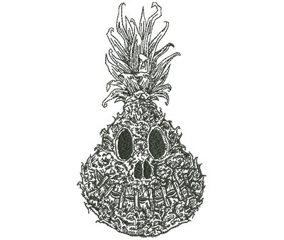 Embroidery Design: Shrunken Pineapple Outline Lg 4.94w X 9.00h