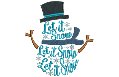 Embroidery Design: Snowman Lettering Sm 5.38w X 5.96h