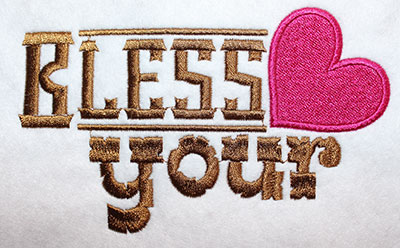 Embroidery Design: Bless Your Heart Lg 6.84w X 4.23h