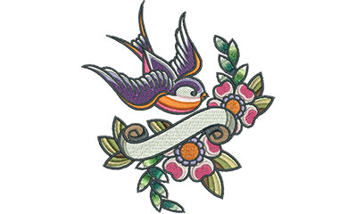 Embroidery Design: Swallow Tattoo Banner with Flowers 4.51w X 4.95h