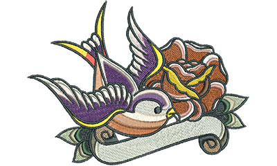 Embroidery Design: Swallow Tattoo with Rose 6.01w X 4.48h