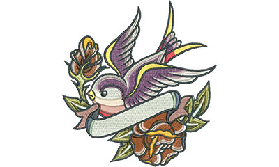 Embroidery Design: Swallow Tattoo with Roses 4.67w X 5.01h