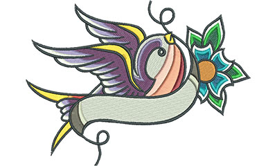 Embroidery Design: Swallow Tattoo with Cherry Blossom 6.34w X 4.65h