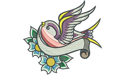 Embroidery Design: Swallow Tattoo with Cherry Blossoms 4.95w X 4.66h