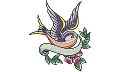 Embroidery Design: Swallow Tattoo with Cherry Blossom and Banner 6.34w X 4.65h